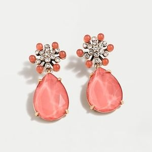 J.Crew NWT Pink star flower drop earring with pave